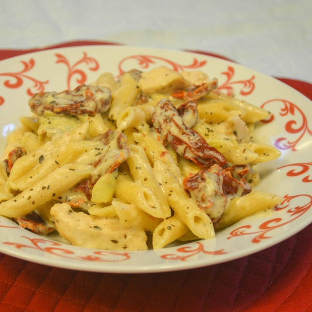of this creamy penne pasta dish with diced chicken, artichoke hearts ...