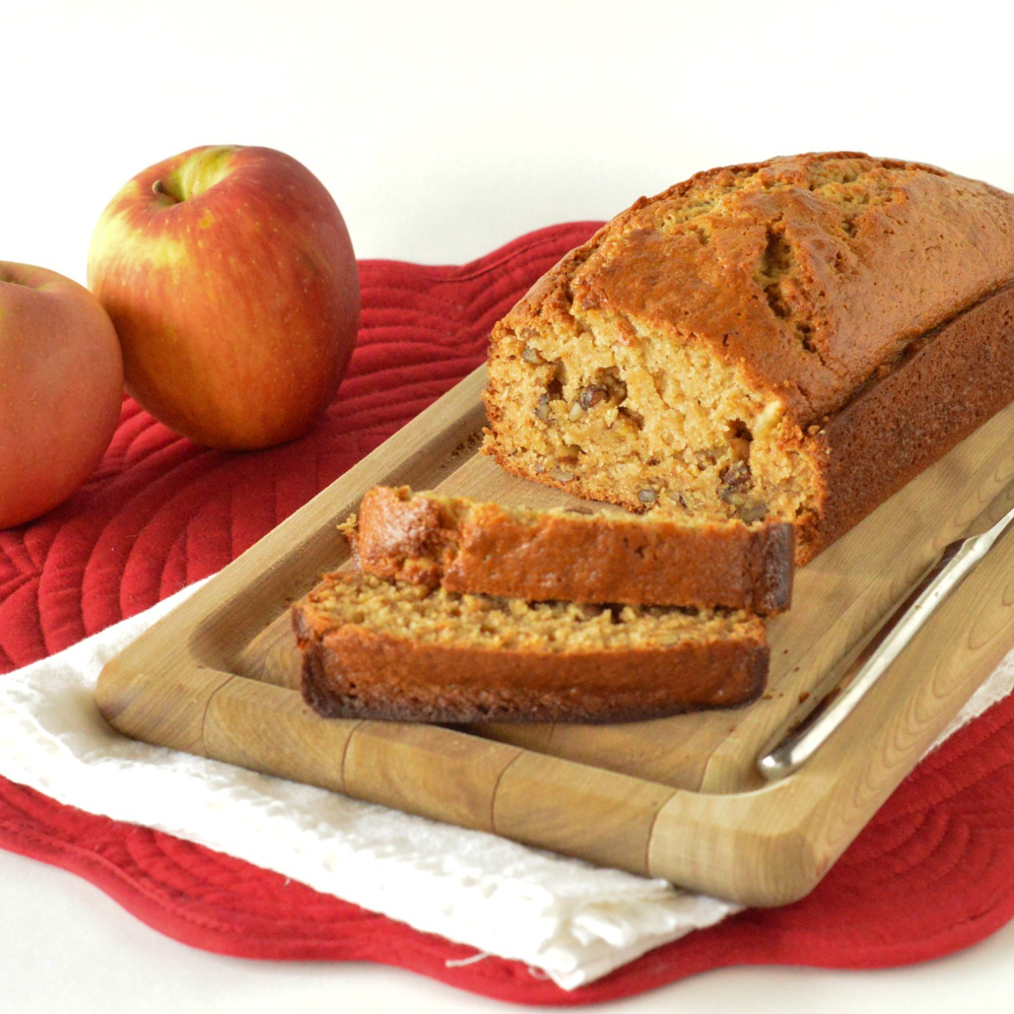 not officially fall without a warm slice of applesauce nut bread ...